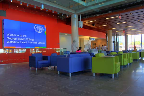 Photo of the reception area at GBC's new Waterfront campus. Photo: Preeteesh Peetabh Singh / The Dialog