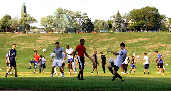 Huskies soccer hopefuls show thier skills during a recent tryout at Riverdale Park. Photo: Preeteesh Peetabh Singh / the Dialog