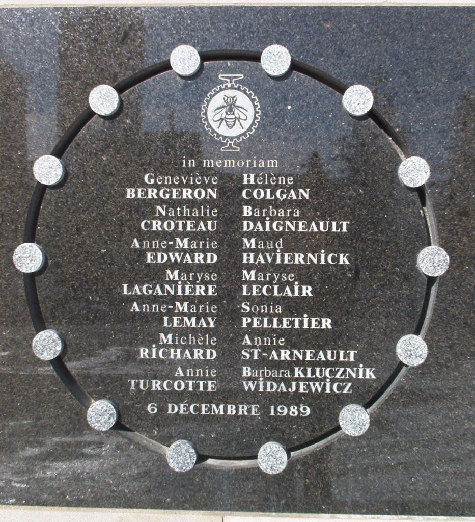 Memorial plaque of the École Polytechnique Massacre in Montreal.