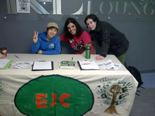 Environmental Justice Collective members at George Brown College encourage students to sign a petition against Line 9 on Feb. 13. From Left to right Hân Hanna Lê, Brendan Soaera, and Brandice Moniz. Photo: EJC/Facebook