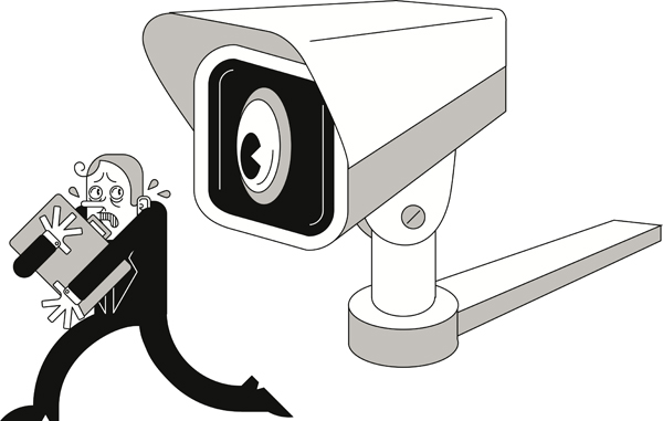 Illustration of a man clutching a briefcase being watched by a giant security camera with a big eyeball. Illustration by Samantha Bullis/The Dialog