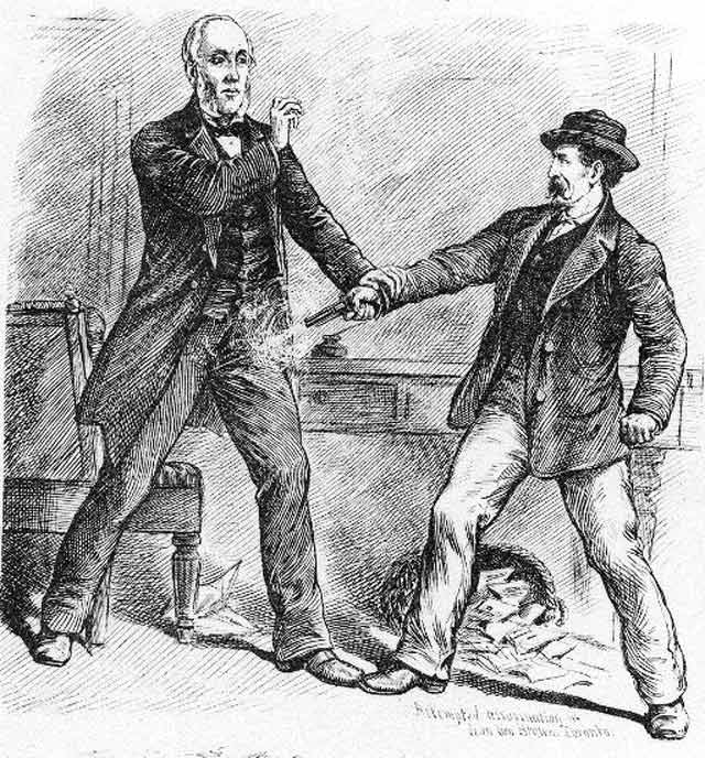 Drawing of George Brown being shot in the leg. Illustration by Henri Julien, the Canadian Illustrated News, April 10, 1880.