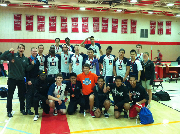 Photo of The men's volleyball team winning bronze at the Fanshawe Volleyball Tournament! on Oct. 5 Photo: Thomas Chung
