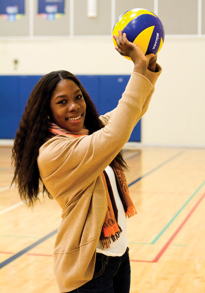 Patricia Niengue at the St. James gym showing off her volleyball skills. Photo: Preeteesh Peetabh Singh/The Dialog