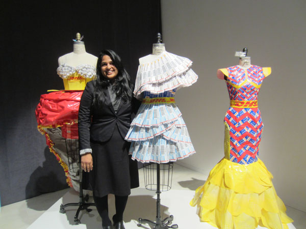 Nagalakshmi Deepak, 20, currently in her second year of the fashion techniques and design program, shows off her winning design at the DHL Fashion Challenge. Photo courtesy DHL Express