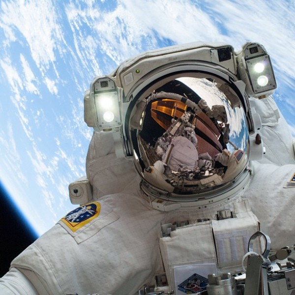 Your selfie can't possibly top the one Astronaut Mike Hopkins took while on a spacewalk outside the International Space Station on Dec. 24, 2013. Photo: NASA