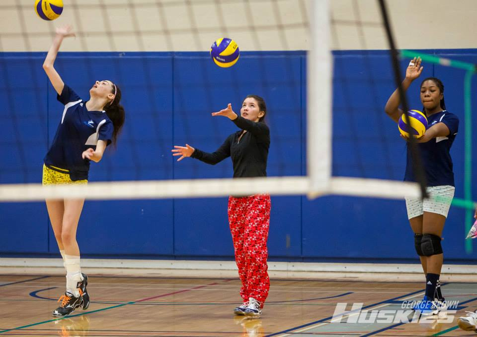 members of the women's volleyball team warm up for the pyjama bowl tournament which raised over $500 for the Childrens Wish Foundation. Photo: Thomas Chung/GBC Athletics