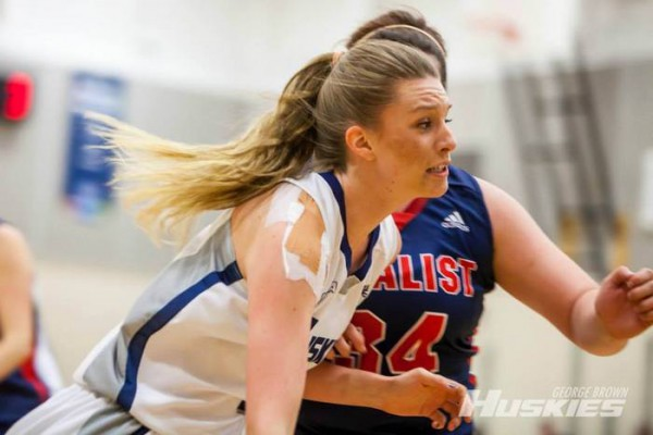Jaime Janssen  plays against Loyalist who the Huskies defeated 34-42 on Jan. 22 Photo: GBC Athletics