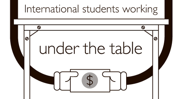 International students working under the table. Illustration: Samantha Bullis/The Dialog