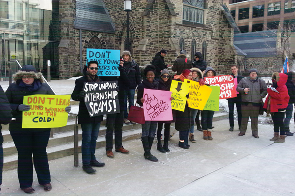 Protesters with the group Students Against Unpaid Internship Scams bundle up during a cold picket of an Ontario budget consultation to oppose the growing epidemic of unpaid internships on Feb. 26. Photo: Students Against Unpaid Internship Scams