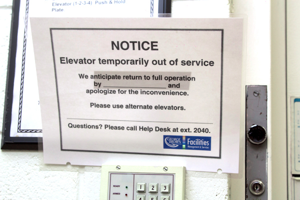 Photo of undated out-of-service notice on elevator at St. James photo: Michael Nguyen/The Dialog