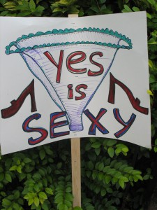 "File Photo of a sign saying ""Yes is sexy"" at Take Back The Night 2012: Karen Nickel/The Dialog"