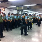 Tensions at Causeway bay, Hong Kong on Sept. 27. Photo: Judith Clarke.