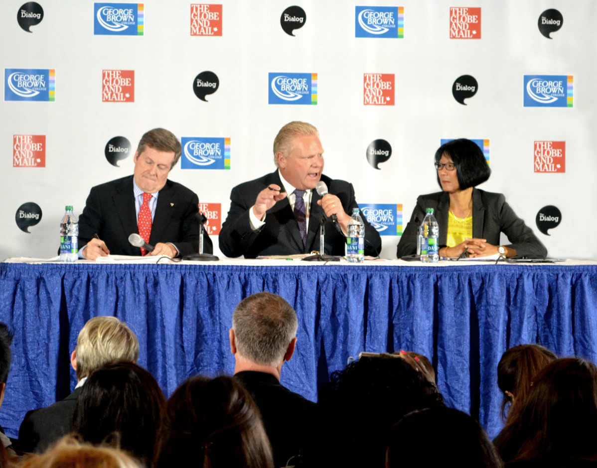 Mayoral candidates John Tory, Doug Ford and Oliva Chow squared off in a feisty debate at George Brown College's Waterfront campus on Wednesday, Oct. 8. Photo: Tina Todaro/The Dialog