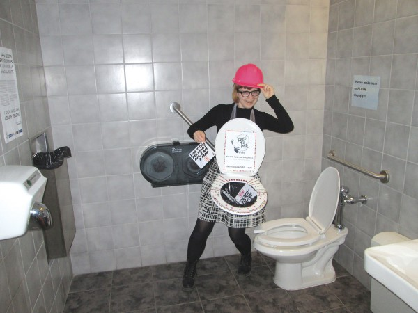 Michelle Pettis, the Student Association's Community Action Centre co-ordinator, during the bathroom audit at Casa Loma campus Photo: Michelle Pettis