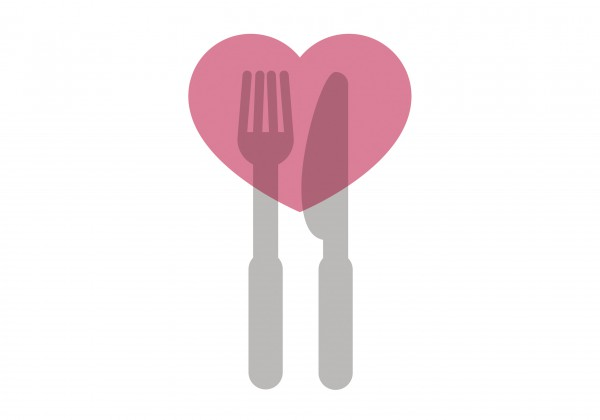Illustration of a heart over a fork and knife by Samantha Bullis.
