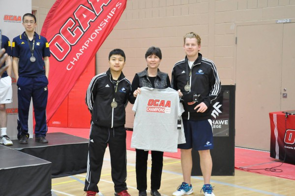 (Left to right) Ogyen Dorjee and Ross Golding pose for a picture after winning gold at the OCAA Provincials at Fanshaw College in London Photo: Thomas Chung/Athletics