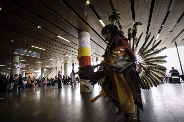 Adults and children dance at the 7th Annual Pow Wow Photo: Keren Fan/The Dialog