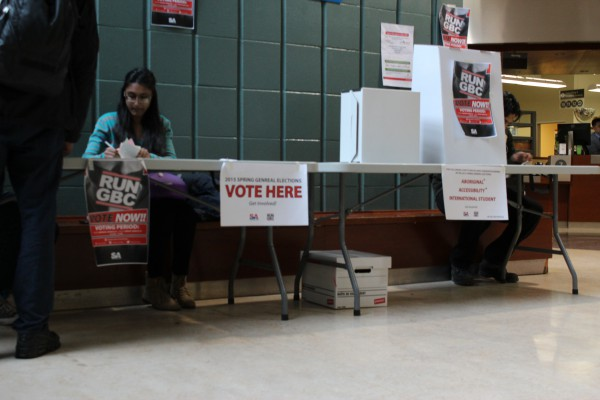 A photo of a poll location at Casa Loma campus. Photo: Brittany Barber/The Dialog