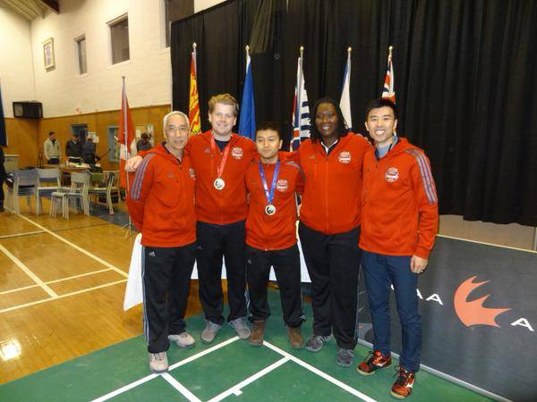 Ross Golding and Ogyen Dorjee  won a silver medal at the CCAA National Championships on March 7. Photo courtesy of GBC Athletics