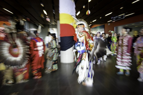 Dancers in traditional regalia for the men's traditional and the women's jingle dance Photo: Keren Fan/The Dialog