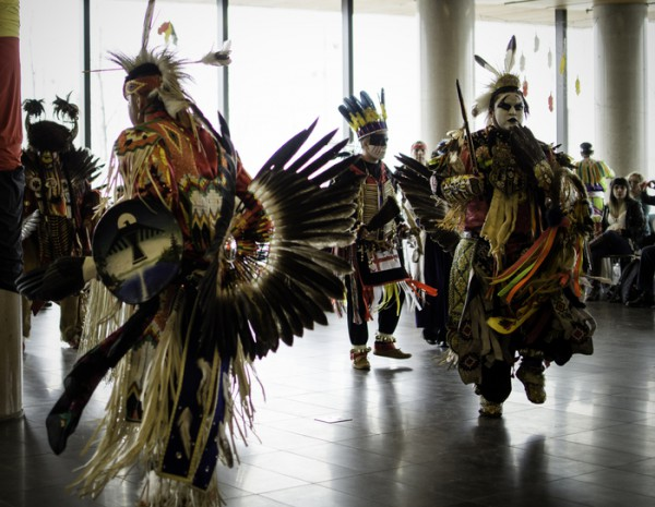 Men's traditional dance at the 7th annual Four Sacred Colours Pow Wow at Waterfront campus Photo: Keren Fan/The Dialog