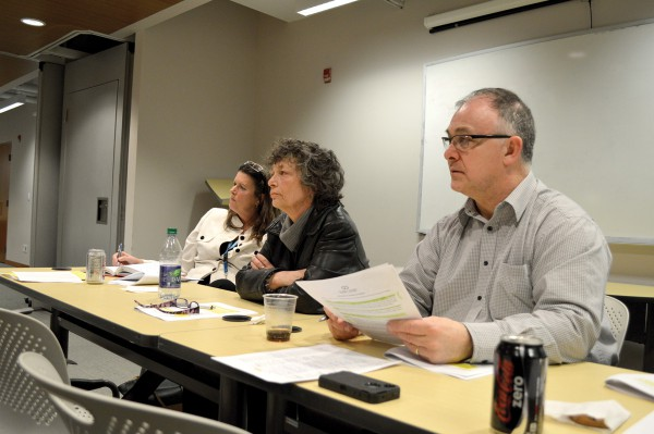 Committee members (left to right) Karen Thomson, Dale Hall and Gerard Hayes address concerns about the new Sexual Assault Policy at the consultation with students on March 18. Photo Dora Liu/The Dialog