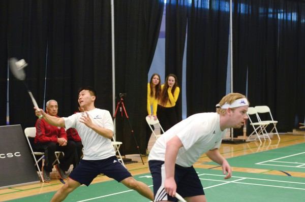 Photo GBC Badminton players Ross Golding and Ogyen Dorjee playing at the CCAA National Championships in 2015.  File Photo courtesy of GBC Athletics.