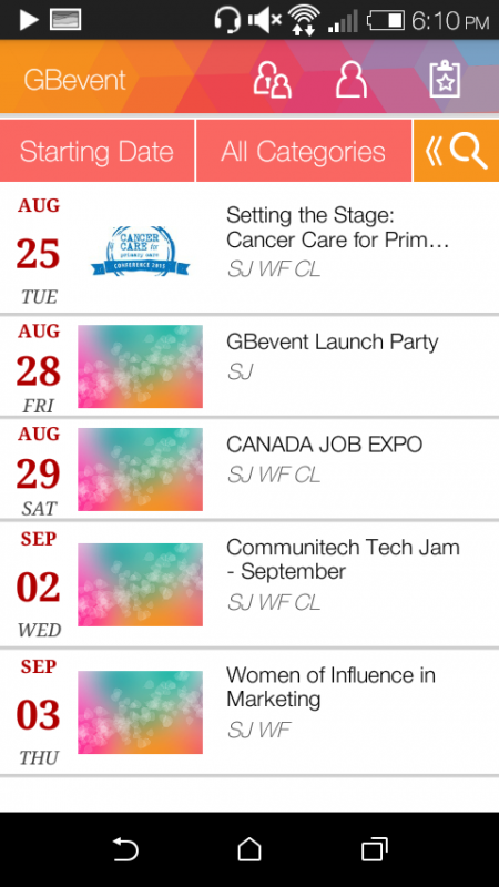 Screenshot of GBevent App with desingned layout showing a list of events that users can select.