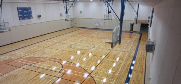 Image of Casa Loma gymnasium floor taken from mezzanine level