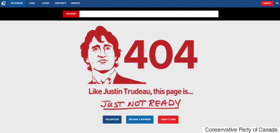"Image of conservative website's 404 page with a drawing of Justin Trudeau reading ""Just like Justin Trudeau this page is just not ready"""