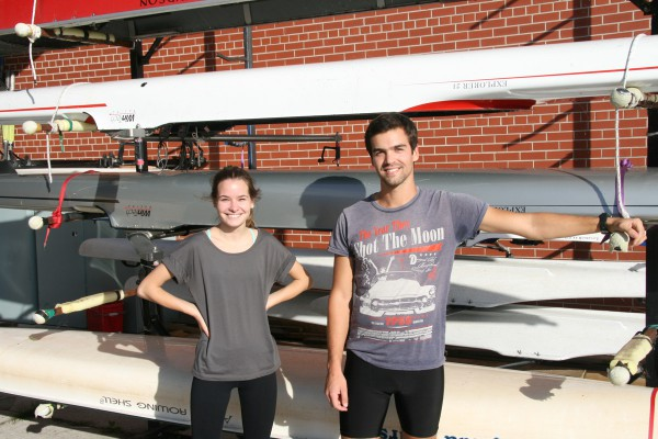 Chelsea Minkovich (left), and Richard Reis (right) at practice for the George Brown rowing club. Photo Steve Cornwell / The Dialog