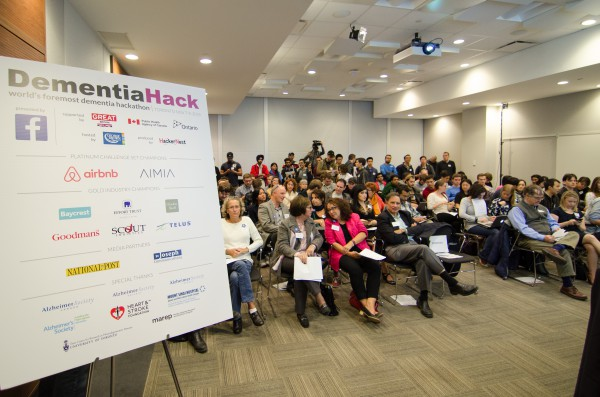 Image of participants in the auditorium of an October 3rd workshop, learn more about dementia and the upcoming DementiaHack event