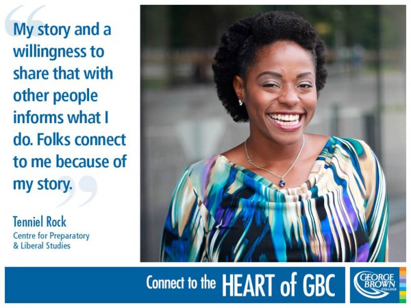 Tenniel Rock a GBC professor participating with the Heart of GBC initiative