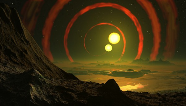 Image of Anime showing a mountain location with two suns in the sky
