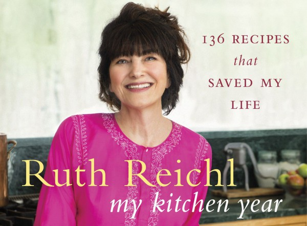 "Image of Ruth Reichl in her book cover that has text ""My Kitchen Year: 136 Recipes That Saved My Life"""