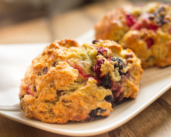 Image of Warm cranberry scones on plate