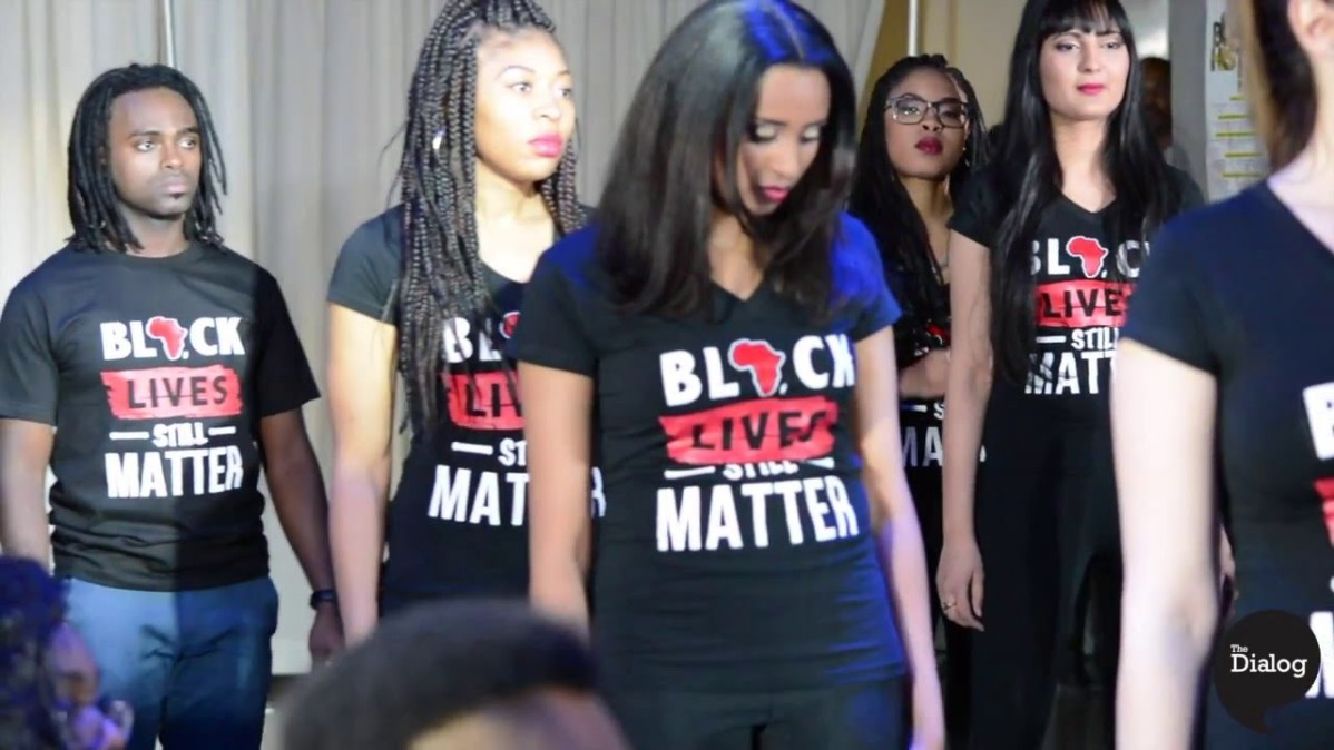 "Screenshot of models wearing T-Shirts saying ""Black Lives Matter."" Black History Month at George Brown College video."