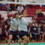 Yunji Kim and Angeline Alviar won silver in the OCAA badminton championship. Photo by Donnie Tai.