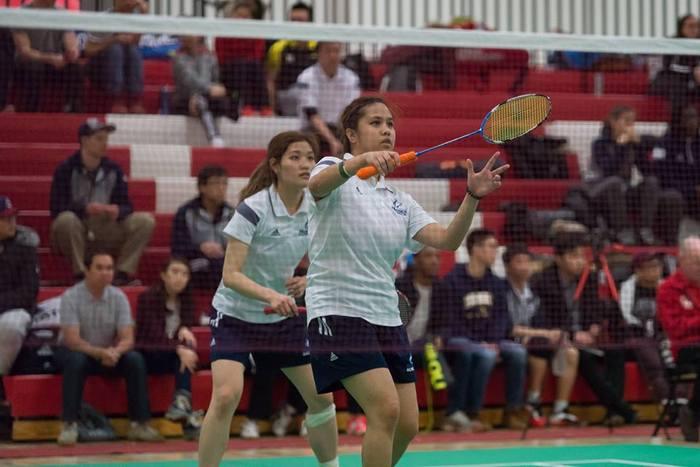 Yunji Kim and Angeline Alviar won silver in the OCAA badminton championship. Photo by Donnie Tai.