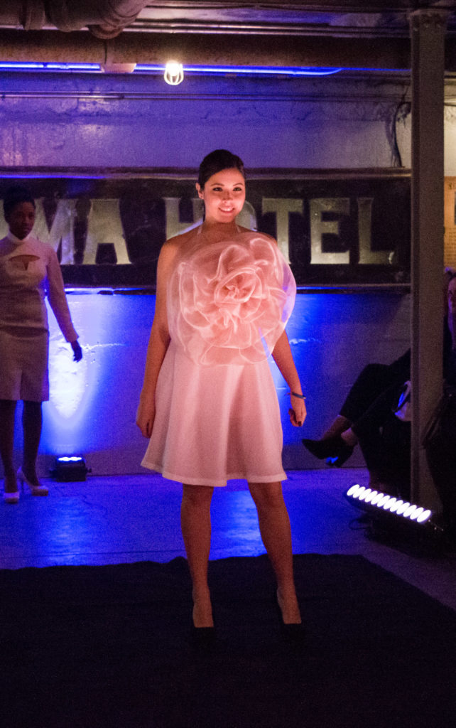 Photo of a George Brown College fashion student's design at the Threads fashion event. Photo: Aliona Kuts / The Dialog