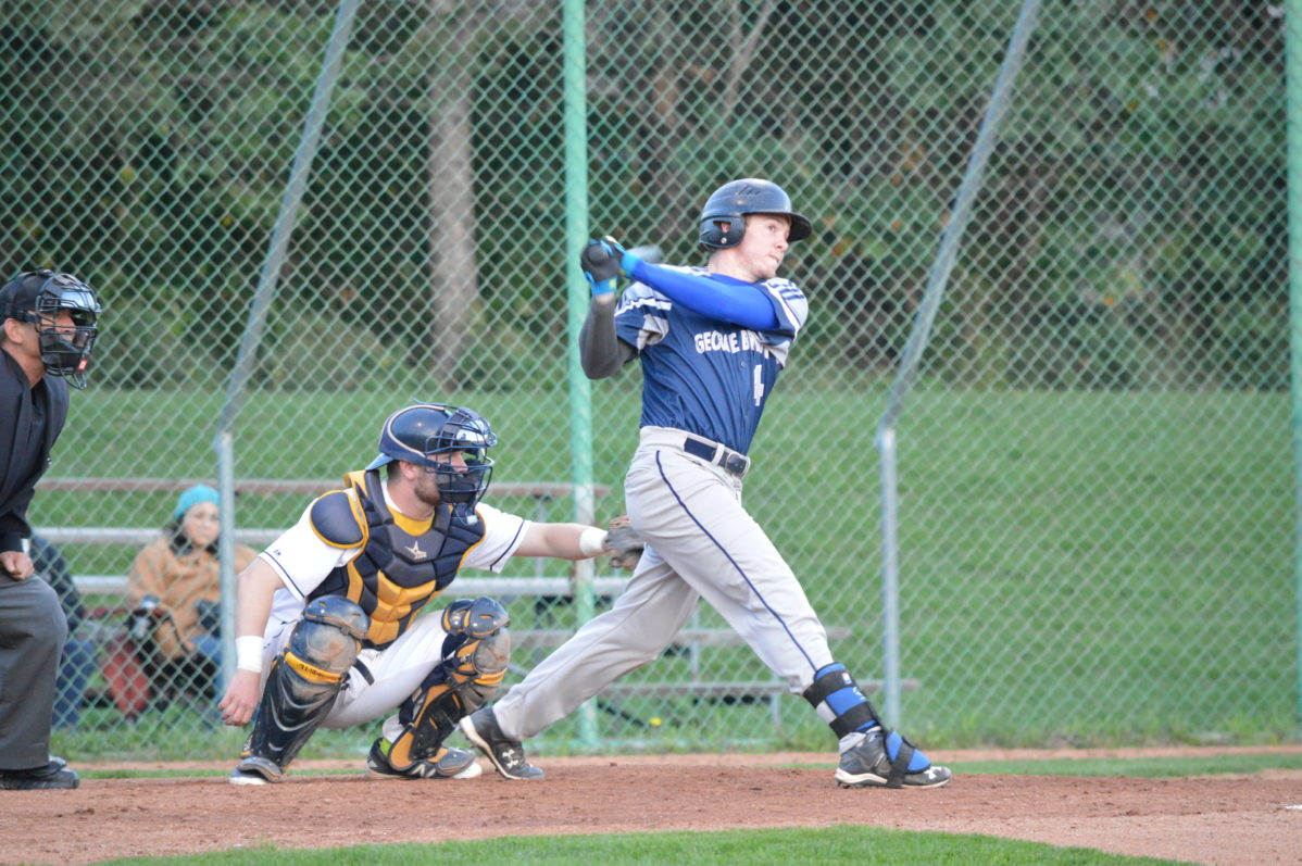 George Brown Huskies outfielder Curtis Cobean is at the plate