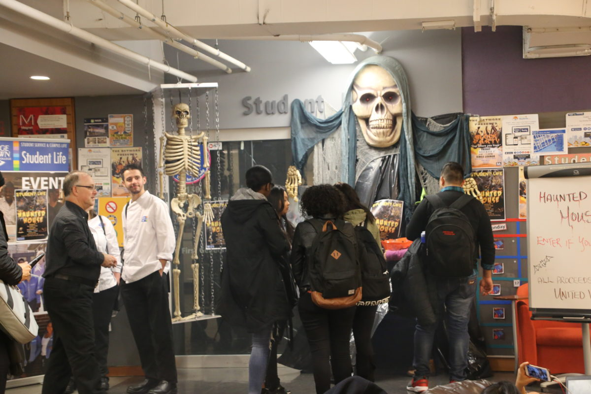 The student life office at St. James was taken over today by a haunted house, with proceeds going to the United Way. Photo by Nazy Entezari