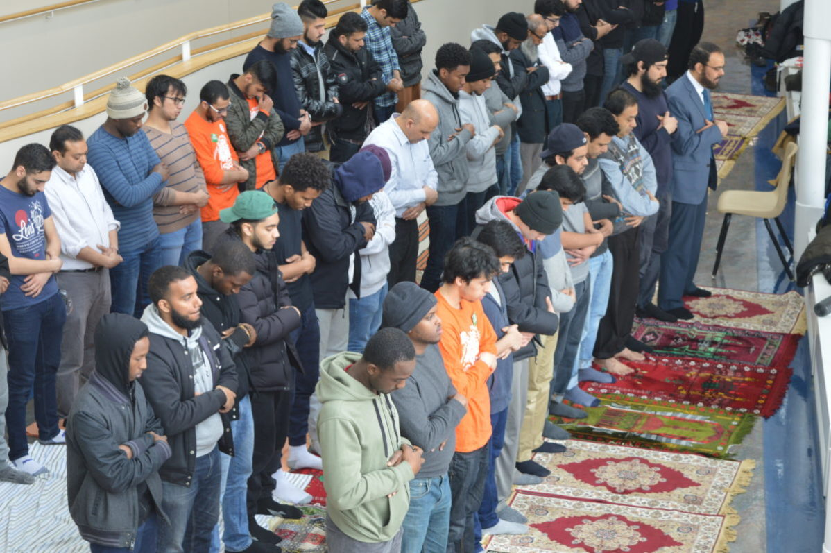 Students attend Jummah prayer held by Muslim Students Association as part of Islamic Awareness Week, on Friday March 24 at Casa Loma campus. Photo: Deshawna Dookie / The Dialog