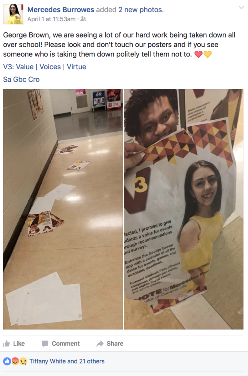 "Mercedes Burrowes, who is running for the director of campus life on the V3 slate, posted on Facebook Saturday morning saying their posters had been ""taken down."""