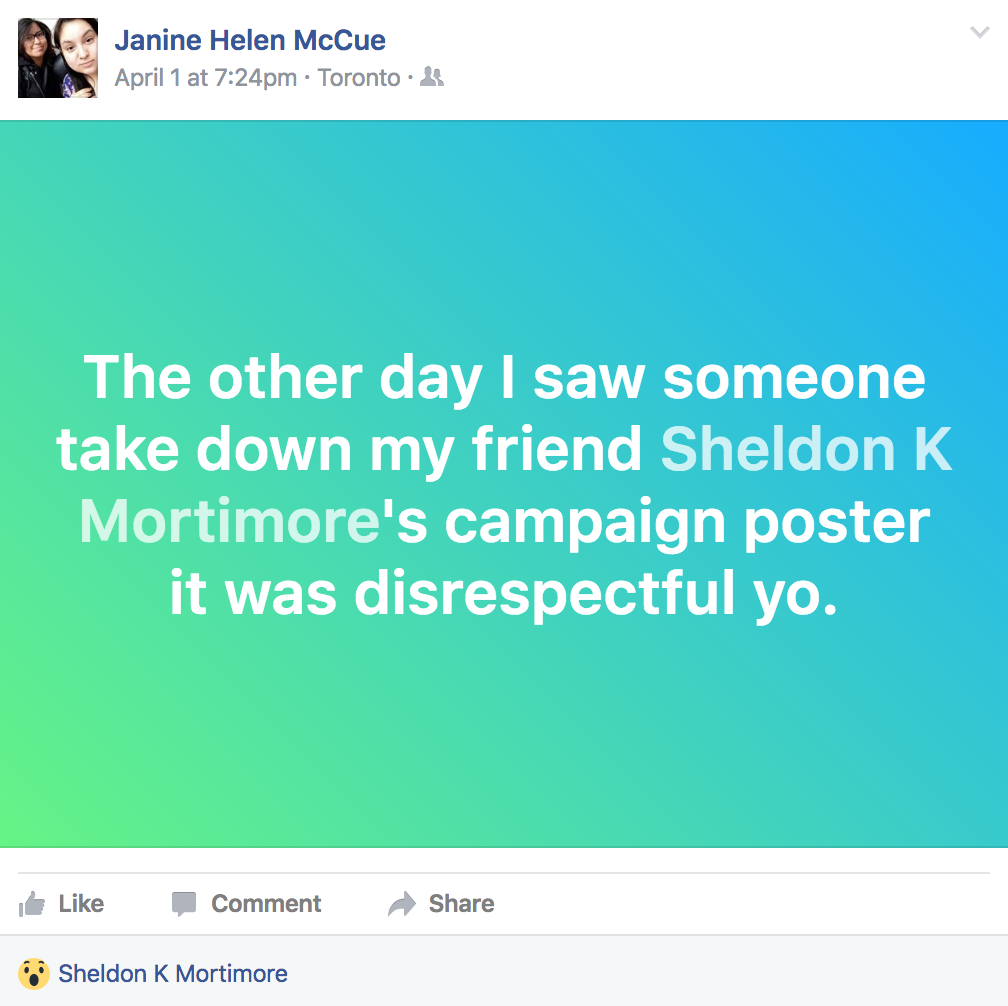 Janine McCue posted on Facebook that they saw posters of director of equity candidate Sheldon Mortimore being taken down.