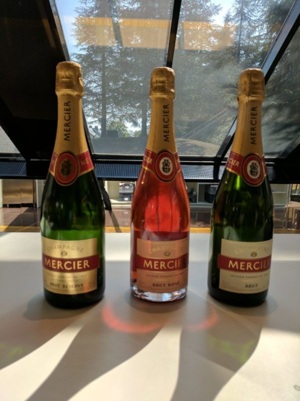 Three of the champagnes we tasted at Champagne Mercier. . Photo: Kelsey Rambaran / The Dialog