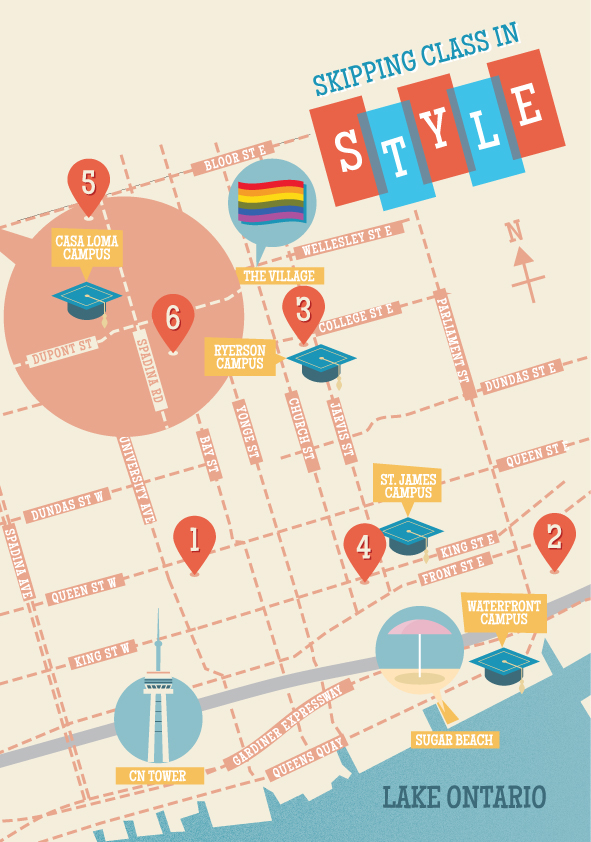 Map of activities in Toronto