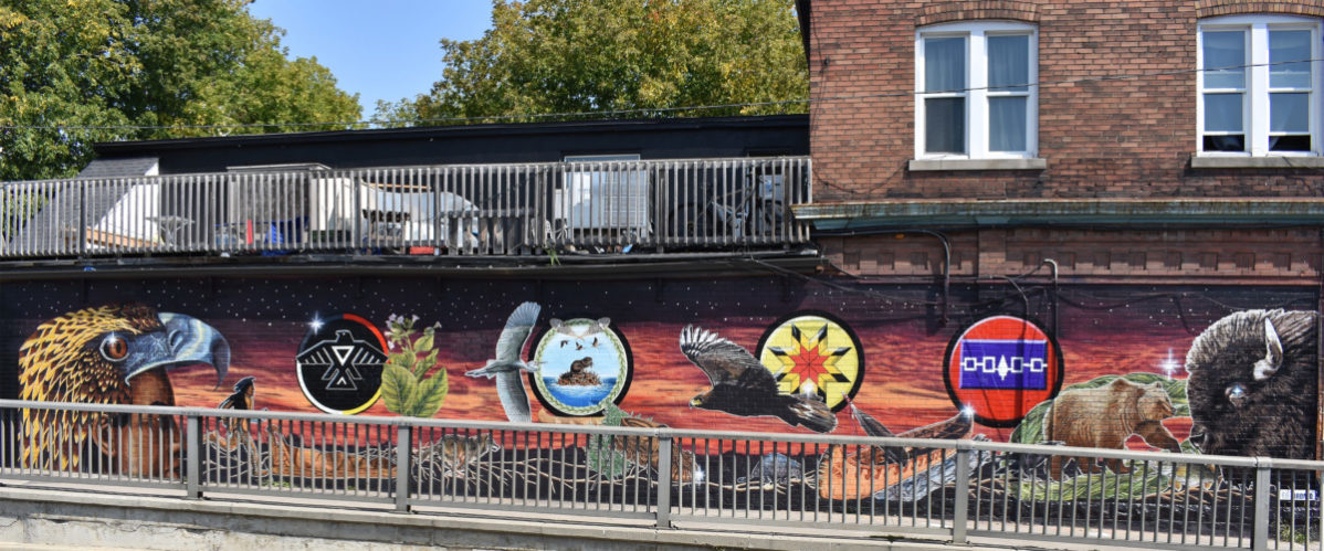Anishinaabe, Wendat, Cree, and Haudenosaunee images make up the new mural at Spadina and Dupont. Photo: Steve Cornwell/The Dialog
