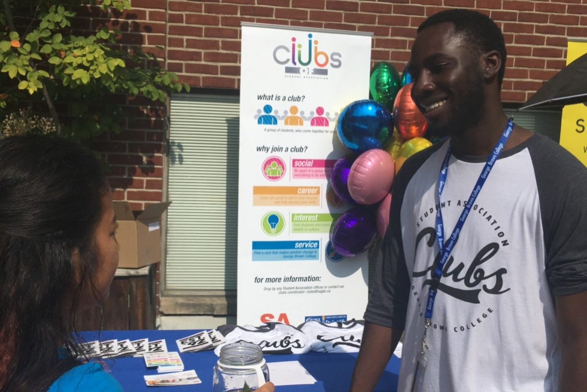 Russ Adade helped to organize the GBC clubs and service fair at Casa Loma, St. James and Waterfront campus to engage new students. Photo: Lidianny Botto / The Dialog